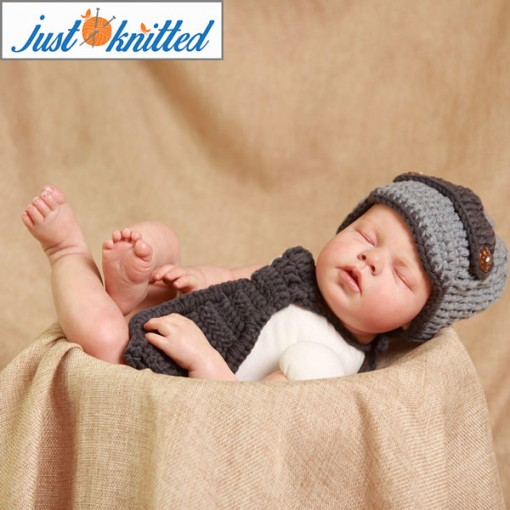Crochet-gentlemen-outfit-baby-boys-hat-and-tie-knitted-cute-gray-caps