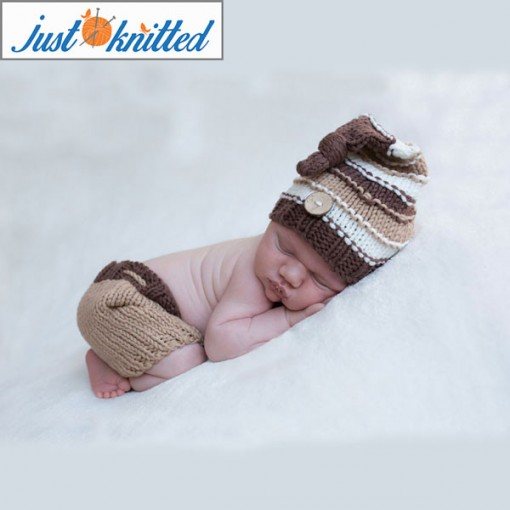 Knitted Knot Hat and Pants Set