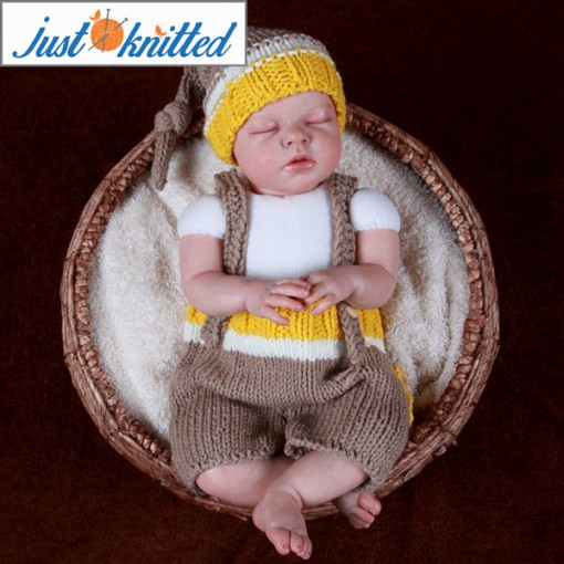 Knitted hat suspender pants set