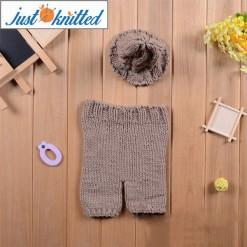 Newborn-0-3months-baby-khaki-twisted-beanies-pants-costume-2