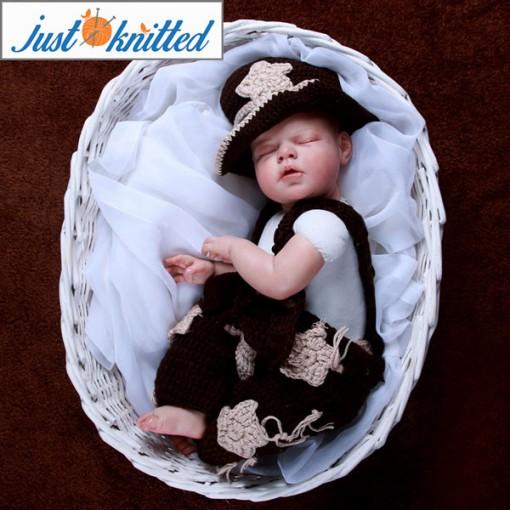 Newborn baby cowboy costume crochet knitting 3pcs set