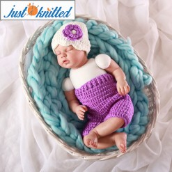 babies purple floral hat pants hand knitted