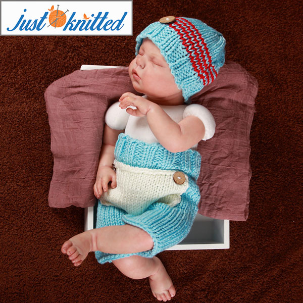 ededc6bd4 Knitted Baby Blue/Red Button Hat and Pants Set - Just Knitted