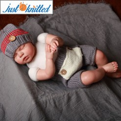 grey and red hat and pants knitted babywear
