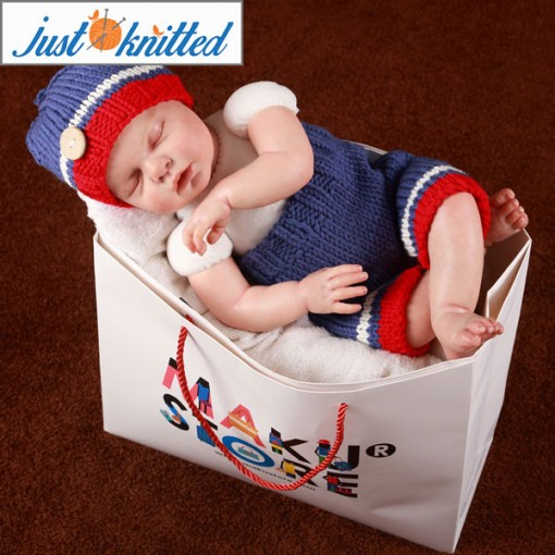 newborn baby infant blue red and white button beanie pants