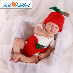 newborn baby twins outfit crochet apples green and red